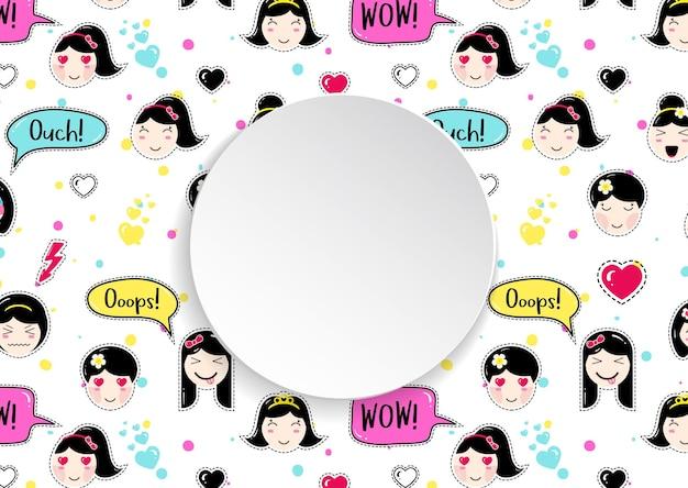 Bannière Circulaire Avec Motif Sans Soudure D'autocollants Anime Emoji. Vecteur Premium