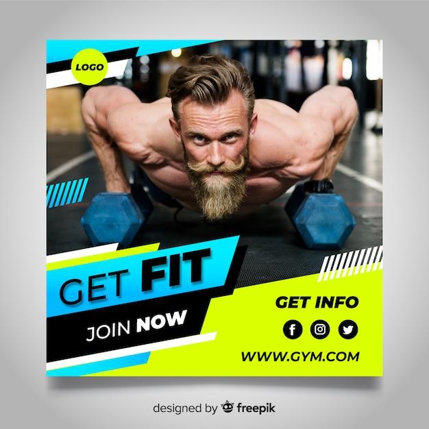 Bannière de club de gym avec photo Vecteur gratuit