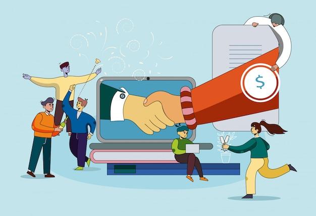 Bannière coaching coopération mutuellement bénéfique. Vecteur Premium