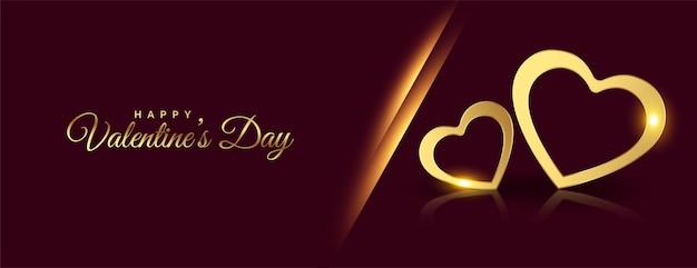 Bannière De Coeurs Dorés Heureux Saint Valentin Vecteur gratuit