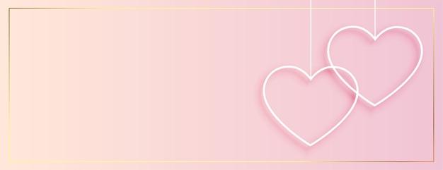 Bannière De Coeurs Suspendus Simples Pour La Saint Valentin Vecteur gratuit