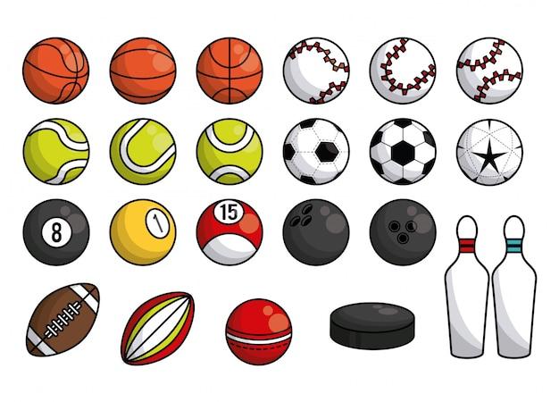 Bannière de collection d'équipement de balles de sport Vecteur Premium