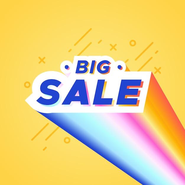 Bannière colorée de grande vente avec arc-en-ciel Vecteur gratuit