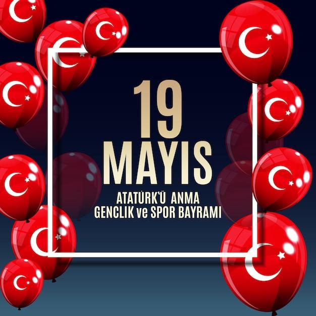 Bannière commémorant la journée de la jeunesse et du sport à ataturk Vecteur Premium