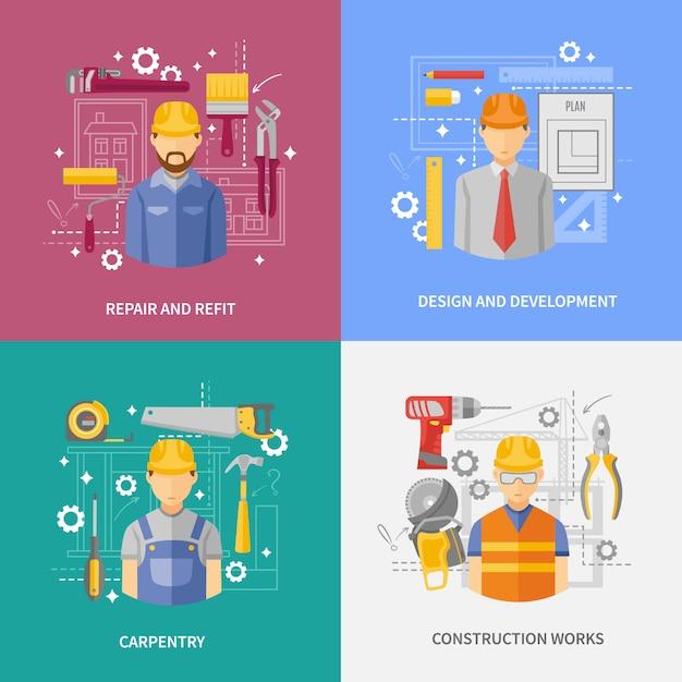 Bannière De Composition Carrée Concept De Travaux De Construction Vecteur gratuit