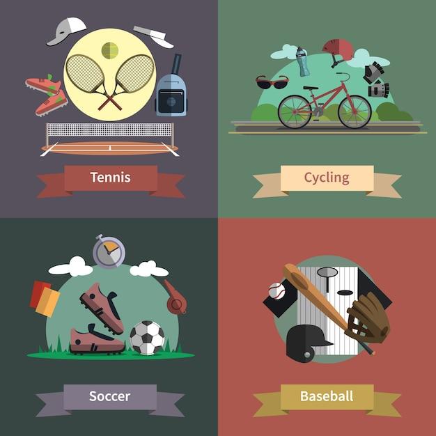 Bannière de composition sport 4 icônes plat Vecteur gratuit