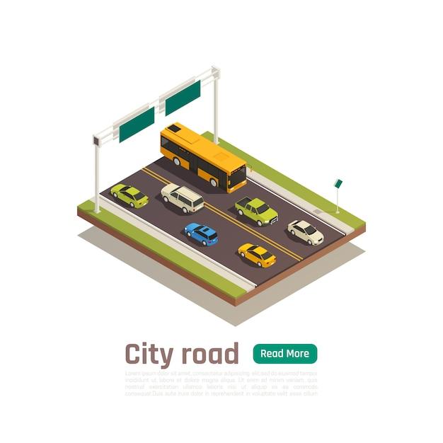 Bannière De Composition De Ville Colorée Et Isométrique Avec Titre De Route De Ville Et Lire Plus Illustration Vectorielle Bouton Vert Vecteur gratuit