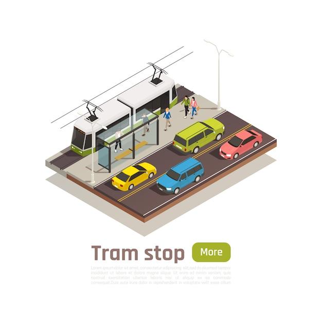 Bannière De Composition De Ville Isométrique Et Colorée Avec Station De Tramway Et Illustration Vectorielle Gros Bouton Vert Vecteur gratuit