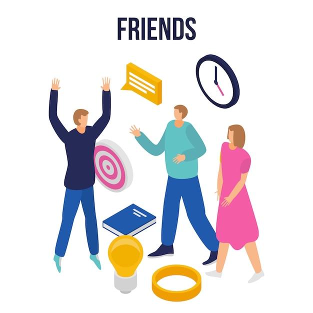 Bannière de concept d'amis modernes, style isométrique Vecteur Premium