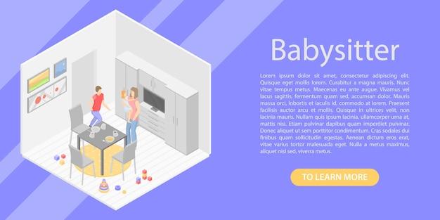 Bannière concept babysitter, style isométrique Vecteur Premium