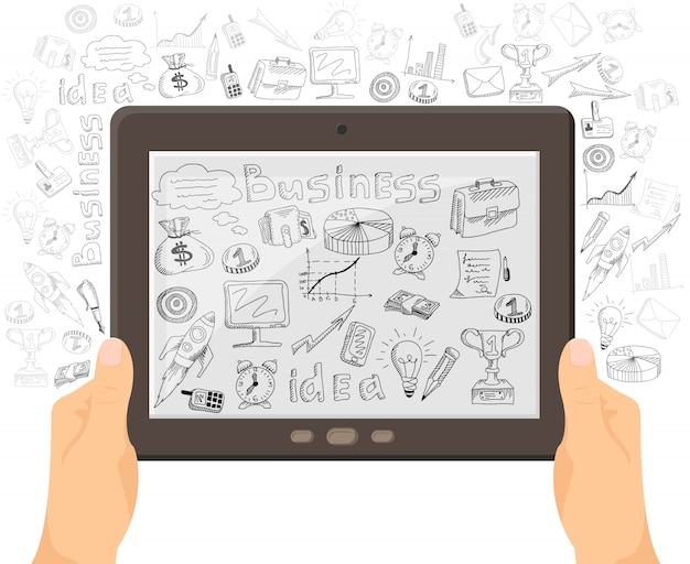 Bannière de concept business mobile technology Vecteur gratuit