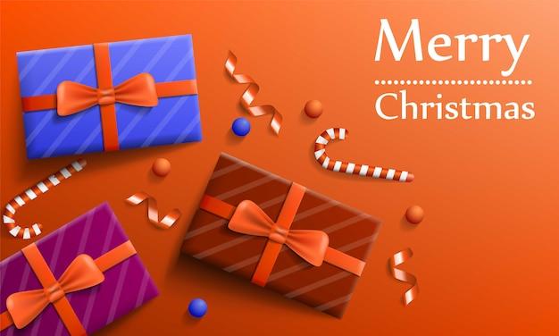 Bannière de concept de cadeau joyeux noël, style réaliste Vecteur Premium