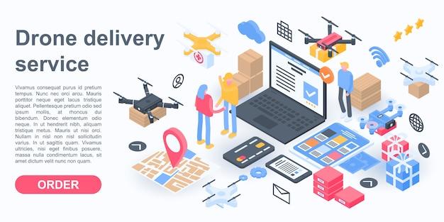 Bannière de concept city drone delivery service, style isométrique Vecteur Premium