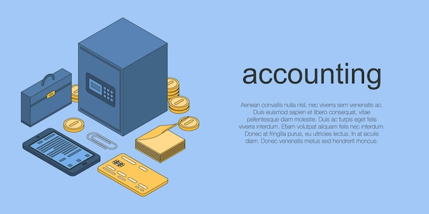 Bannière de concept de comptabilité, style isométrique Vecteur Premium