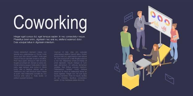 Bannière De Concept De Coworking, Style Isométrique Vecteur Premium