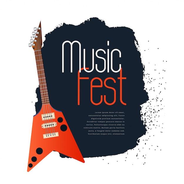 Bannière concept fest musique avec guitare électronique Vecteur gratuit
