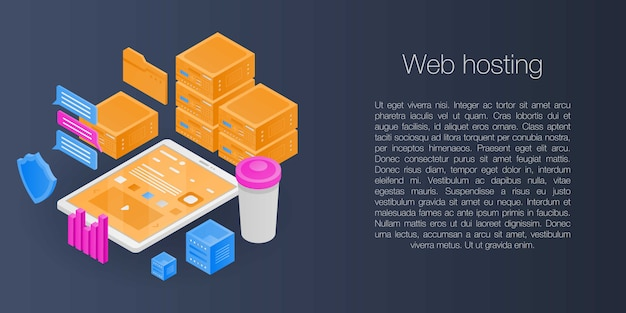 Bannière de concept d'hébergement web, style isométrique Vecteur Premium