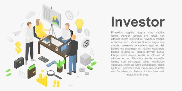 Bannière Concept Investisseur, Style Isométrique Vecteur Premium