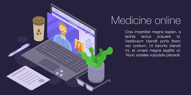 Bannière De Concept En Ligne De Médecine, Style Isométrique Vecteur Premium
