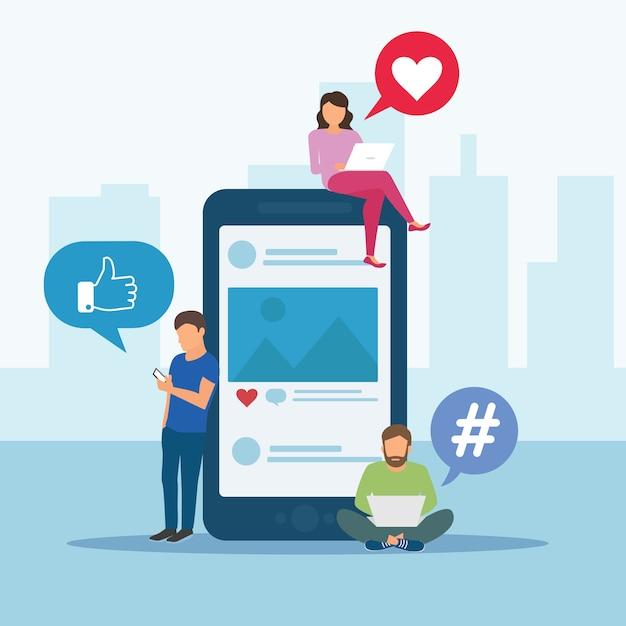 Bannière de concept de médias sociaux avec la place du texte. illustration vectorielle minimal style plat Vecteur Premium