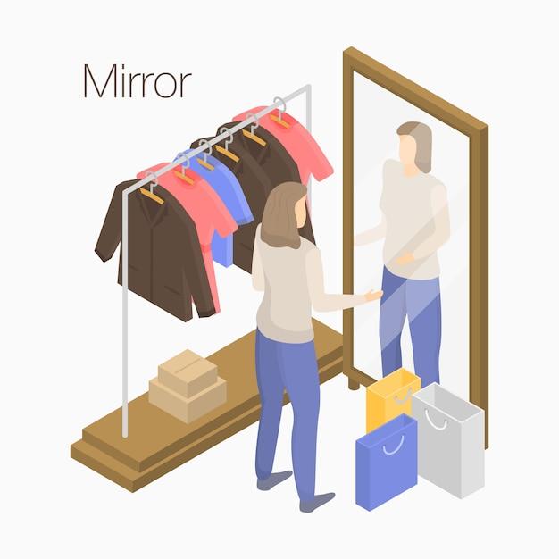 Bannière concept miroir, style isométrique Vecteur Premium