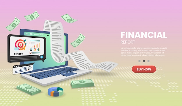 Bannière De Concept De Rapport Financier Vecteur Premium