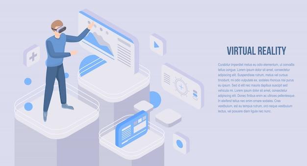 Bannière De Concept De Réalité Virtuelle, Style Isométrique Vecteur Premium