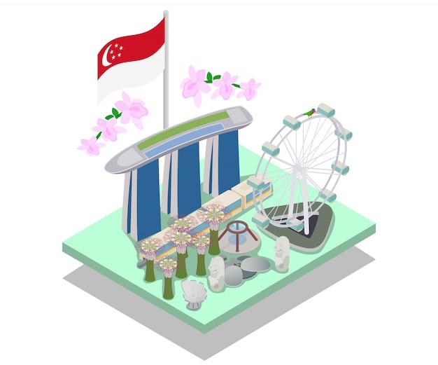 Bannière de concept de singapour, style isométrique Vecteur Premium