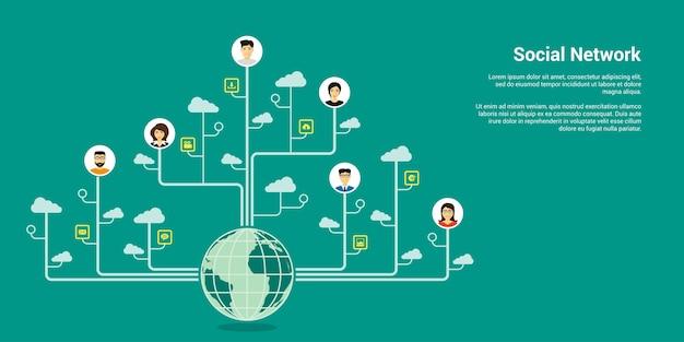 Bannière De Concept De Style, Réseau Social, Communication Internet Vecteur Premium