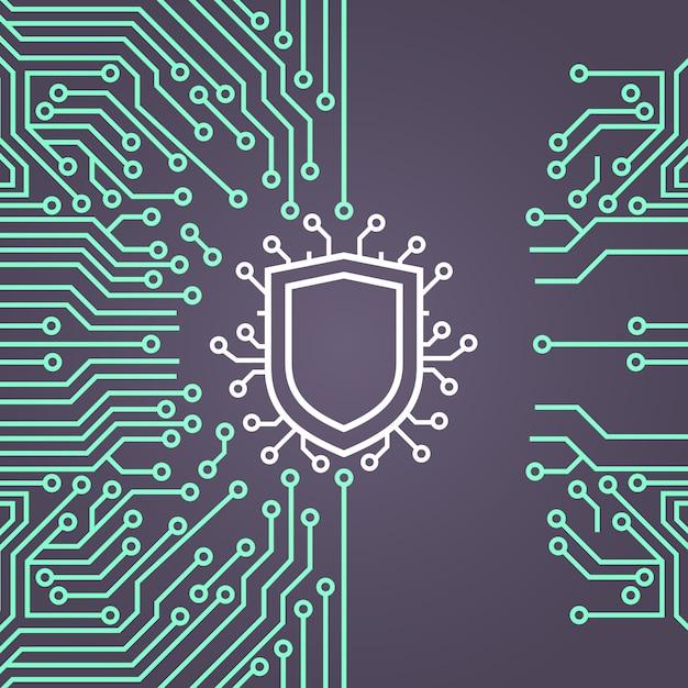 Bannière de concept de système de protection des données réseau shield Vecteur Premium
