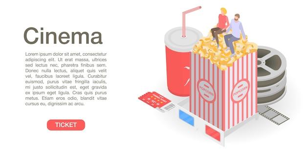 Bannière de concept de temps de billet de cinéma, style isométrique Vecteur Premium