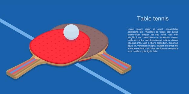 Bannière concept de tennis de table, style isométrique Vecteur Premium