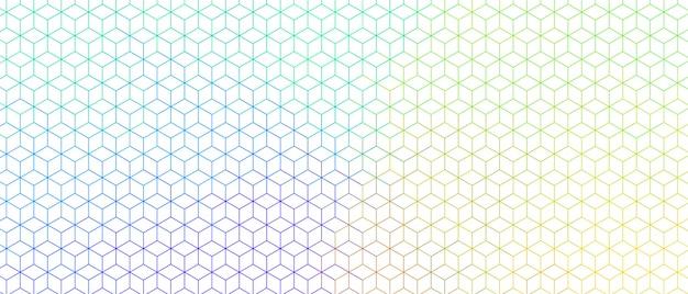 Bannière De Conception De Motif Large Ligne Hexagonale Colorée Vecteur gratuit