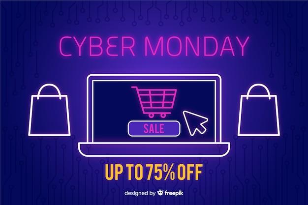 Bannière de conception plate cyber lundi Vecteur gratuit
