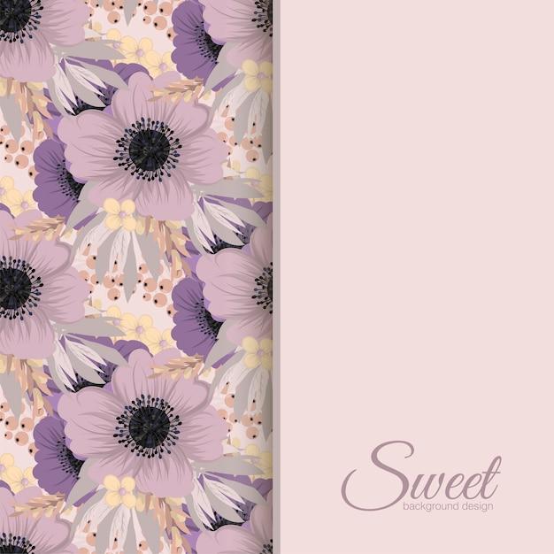 Bannière de conception de vecteur avec des fleurs roses et violettes Vecteur Premium