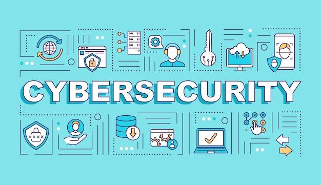 Bannière De Concepts De Mot De Système De Sécurité Cybernétique Vecteur Premium