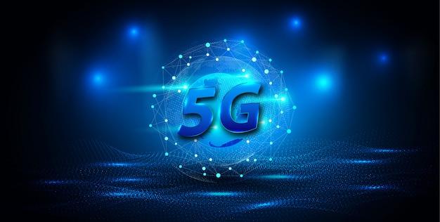 Bannière de connexion au réseau mondial 5g Vecteur Premium