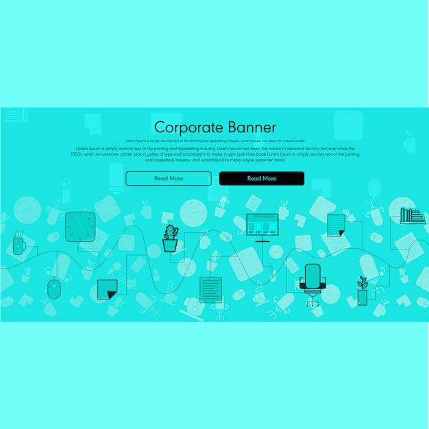 Bannière corporative vecteur plat avec fond info-graphique Vecteur Premium