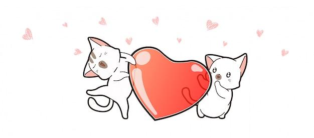 Bannière Un Couple Kawaii Chat Et Coeur Pour La Saint Valentin Vecteur Premium
