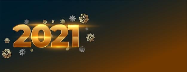 Bannière Créative Du Nouvel An Rougeoyant Avec Numéros 2021 Et Flocons De Neige Vecteur gratuit