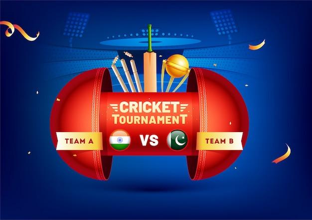 Bannière créative avec des éléments de cricket Vecteur Premium