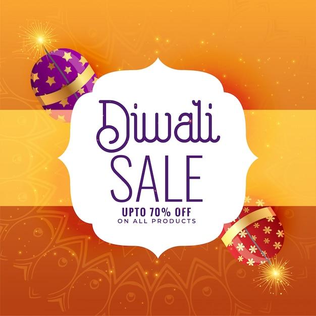 Bannière créative de vente de diwali avec des craquelins Vecteur gratuit