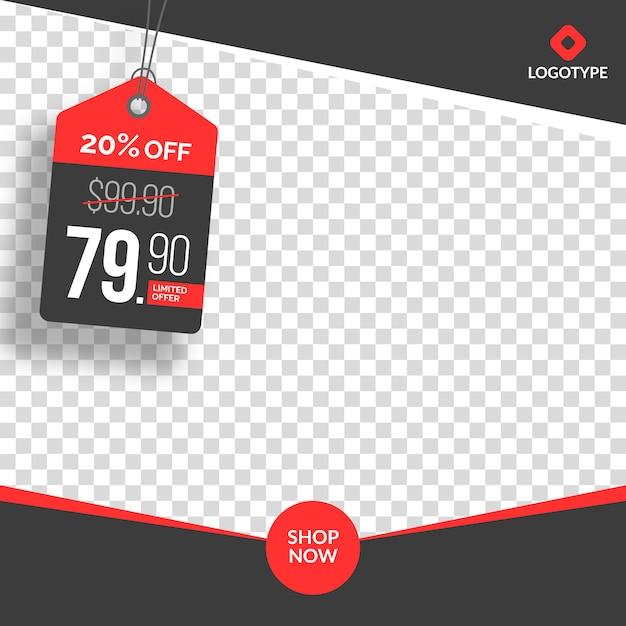 Bannière créative de vente instagram modifiable avec vide abstrait Vecteur Premium