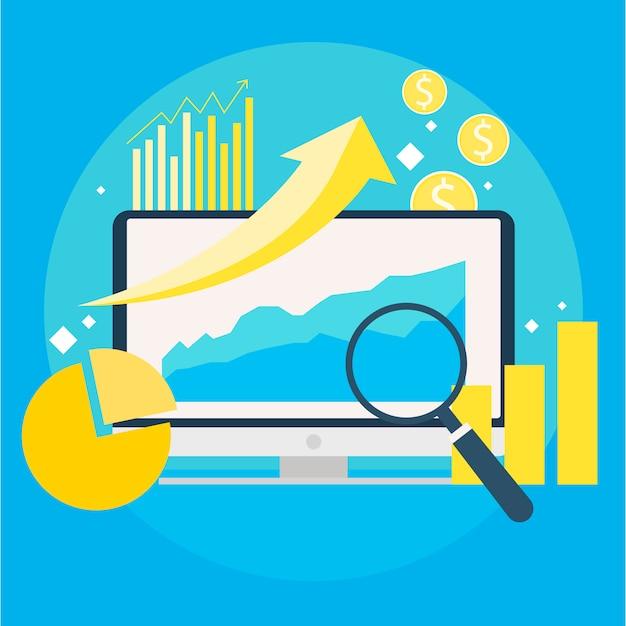 Bannière de croissance du trafic du site web. ordinateur avec des diagrammes, des courbes de croissance. loupe. Vecteur gratuit