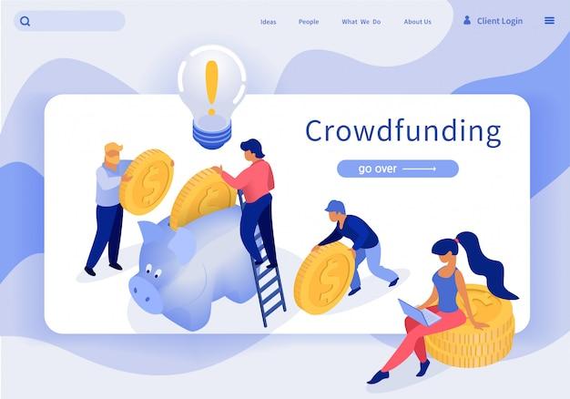 Bannière crowdfunding vector illustration lettrage. Vecteur Premium