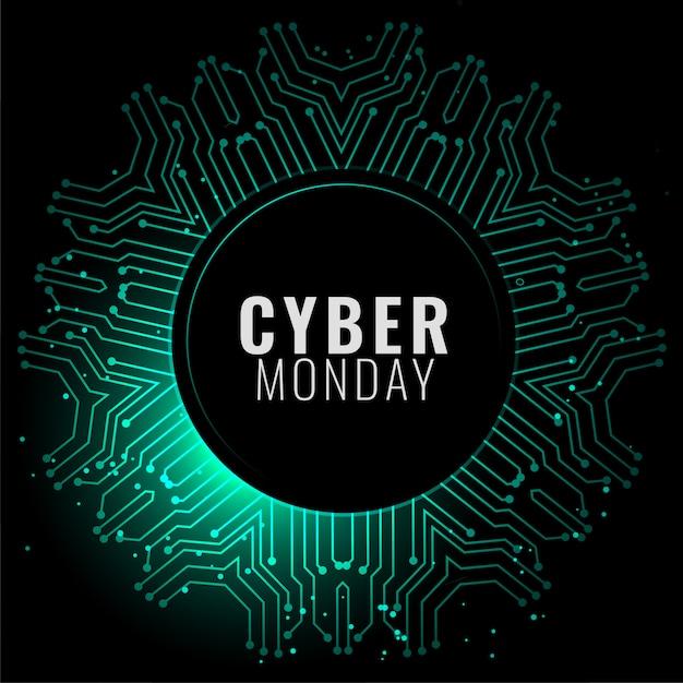 Bannière Cyber Lundi En Bannière De Style Numérique Vecteur gratuit