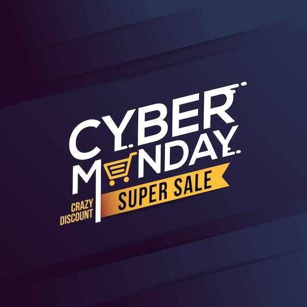 Bannière cyber monday sale avec fond géométrique tendance Vecteur Premium