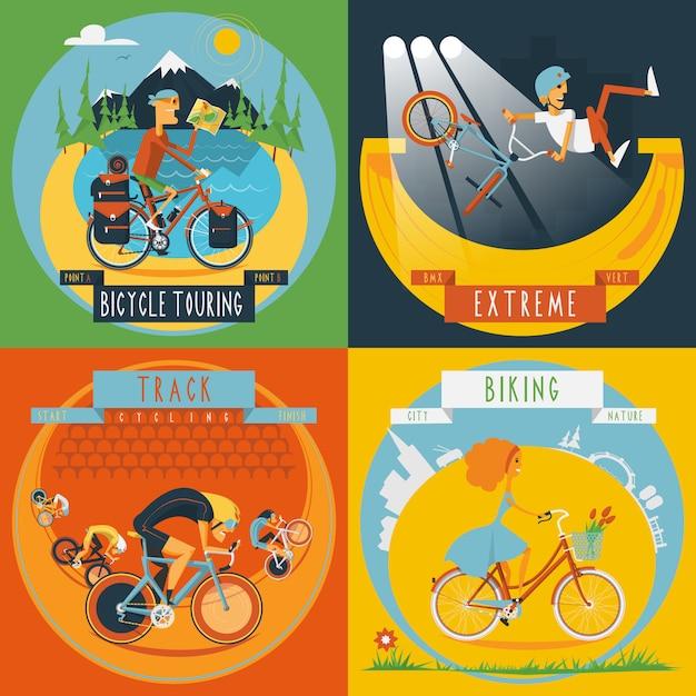 Bannière de cyclisme 4 icônes plat Vecteur gratuit