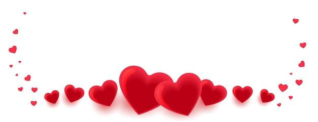 Bannière De Décoration Coeurs Pour La Saint Valentin Vecteur gratuit