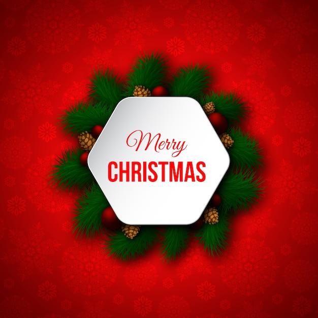 Bannière Décorative De Noël Avec Des Branches De Pin, Des Boules Rouges, Des Pommes De Pin. Fond De Couleur Rouge, Motif De Flocon De Neige. Texte De Joyeux Noël. Vecteur Premium